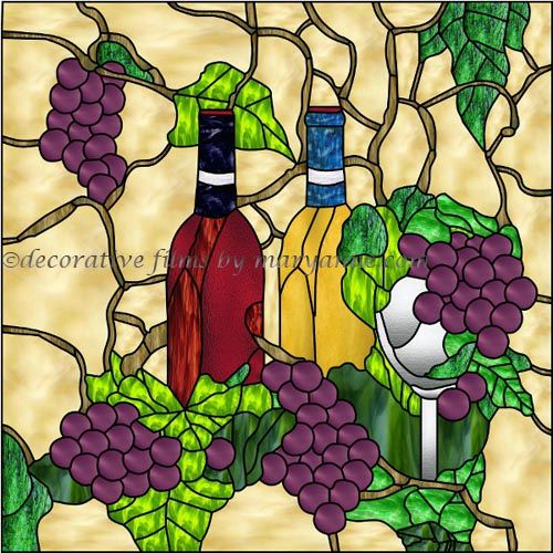 Wine and Grapes Decorative Window Film