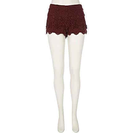 dark red crochet shorts - casual shorts - shorts - women - River Island