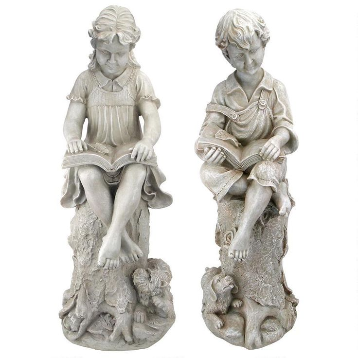 Charming statue set of a boy and girl reading. Each perched onto of a tree stump, with their beloved pups at their feet. Click image for pricing and details. Affiliate Link.