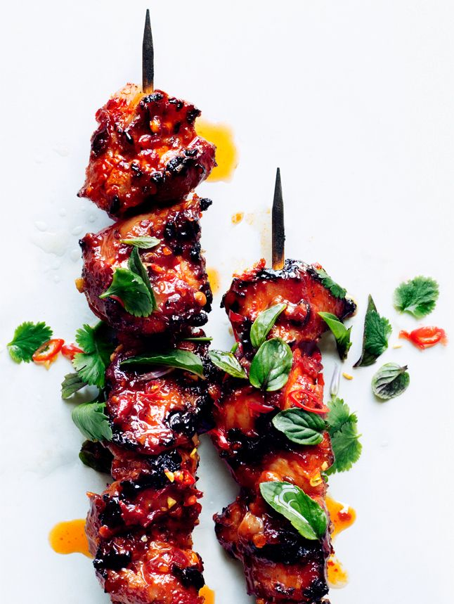 Sambal Chicken Skewers - serve with Tiger Salad, grilled zucchini, and Naan | Sunday Summer Grilling week #1