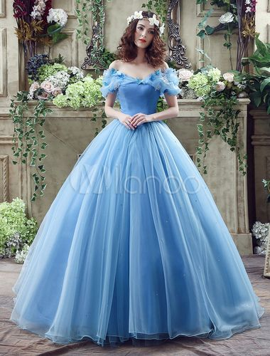 Traumhaftes Blau Ball-Kleid wie Prinzessin