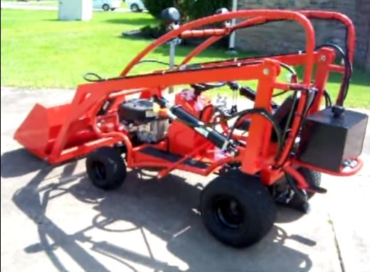 Tractor by redbug -- Homemade tractor constructed from a surplus lawn tractor, steel plate, tubing, and hydraulic cylinders. http://www.homemadetools.net/homemade-tractor-2