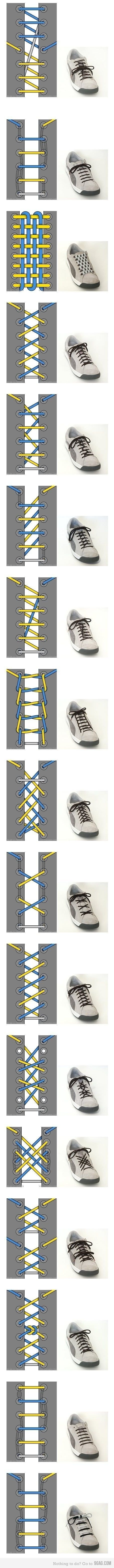 17 Ways To Tie Shoes - if you're trying to make people think you're weird.