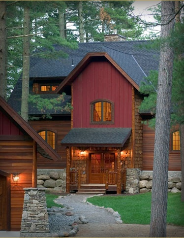 1000 ideas about red house exteriors on pinterest for Rustic log cabin siding
