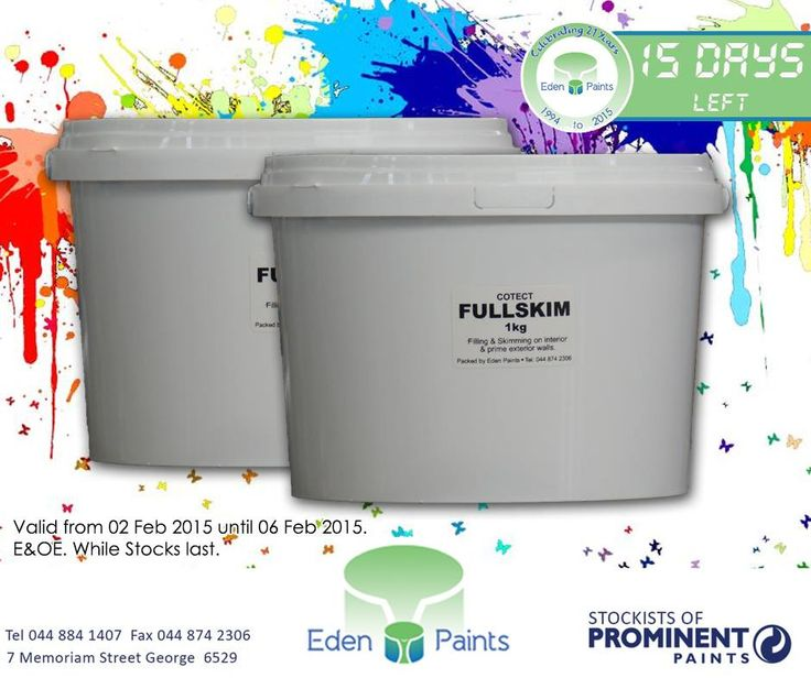 15 days left of our 21st birthday countdown and we have amazing specials! Like #Cotect full skim for only R 200,00. Offer valid from the 2nd - 6th of Feb, while stocks last, E&OE. Don't miss out! #EdenPaints #21birthdaypromo