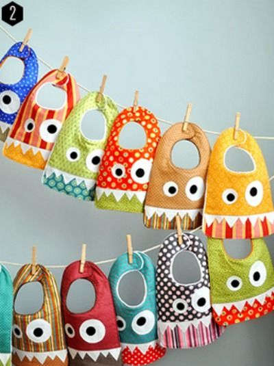 Check out these super fun monster baby bibs -- such a cute craft idea!