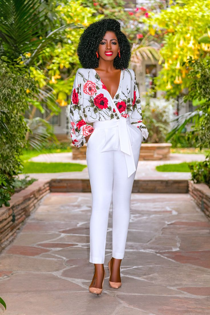 Style Pantry | Floral V-Neck Bodysuit + Belted Pegged Pants | White coat ceremony outfit, Colour combinations fashion, Women office outfits