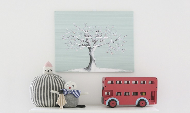 Paula's Tree • Paula created her tree using a aqua-green background and a classic apple tree