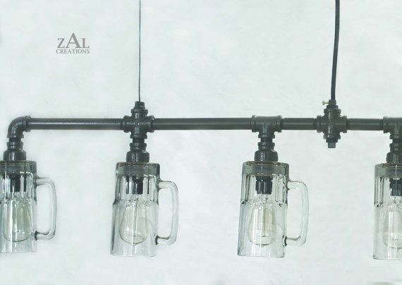Beer Glass Mug Suspension Lamp. Pendant Light with by ZALcreations