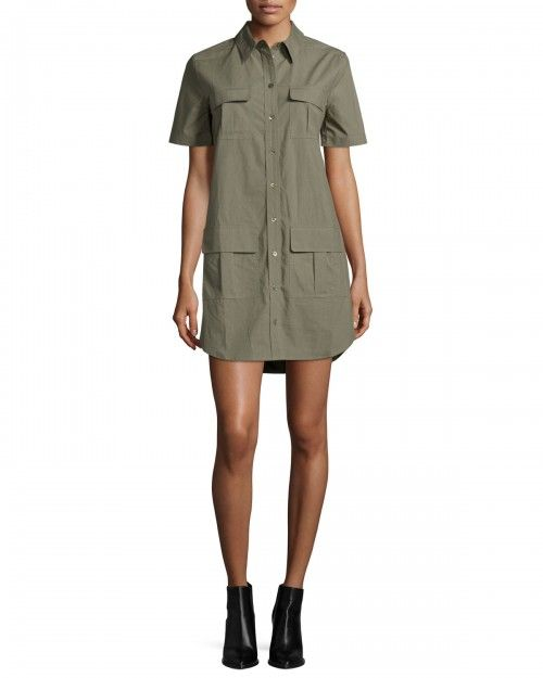 Equipment+Remy+Short+Sleeve+Utility+Shirtdress+Dusty+Olive+Women's+X+|+Frock,+Dress+and+Clothing