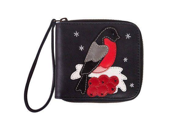 Frauen Geldsack Weihnachtsgeschenk Halter Leder Münzfach handgemachte Karte Brieftasche grau Geldbörse Brieftasche Vogel