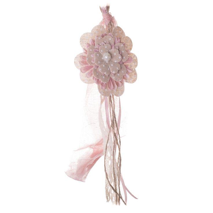 Μπομπονιέρα για βάφτιση ή γάμο λουλούδι υφασμάτινο με πέρλα