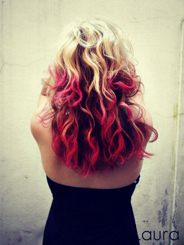 capelli fucsia fai da te  hair color neon DIY