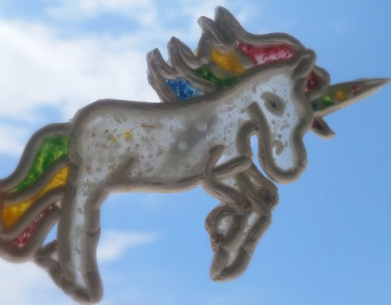 Unicorn brooch translucent polymer clay pin by Lijoux