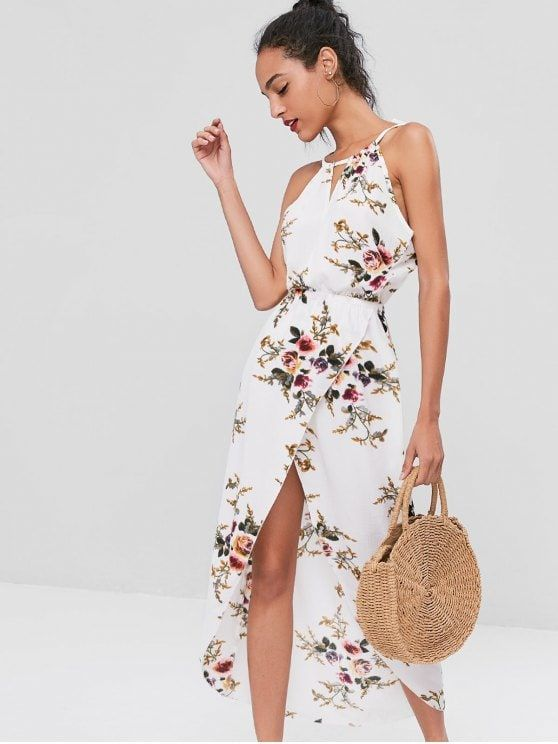93030ac9385 Only  19.99 and free shipping! Shop for 2018 Cut Out Floral Overlap Dress  in WHITE M of Midi Dresses and check 10000+ hottest styles at ZAFUL.