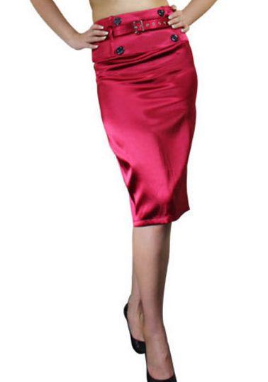 Jupe crayon taille haute mi-longue rose ceinture - bestyle29.com