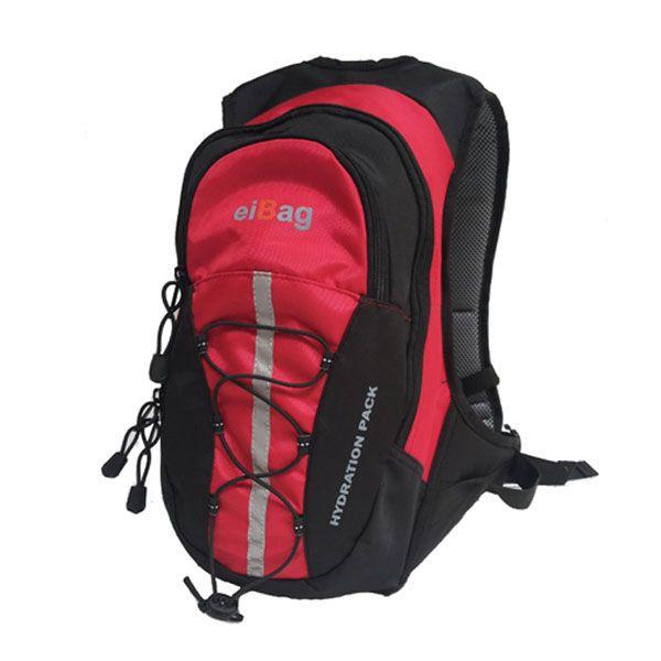 Tas ransel sepeda atau hydropack, muat water bladder 2L dengan warna merah variasi hitam bisa juga membawa pakaian cadangan, tools, dilengkapi cover bag.