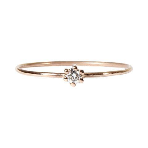 Anillo Solitario con Diamante en Oro Rosa 18 K | Minimal Small Branch