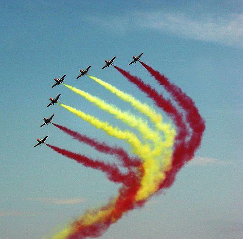 Patrulla Aguila, Spanish Air display team , celebration of the Día de la Hispanidad in Madrid, Spain