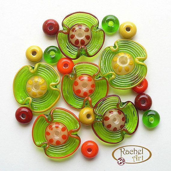 Perles en verre lampwork fleur ensemble de par Rachelcartglass