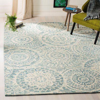 Ophelia Co Salerna Abstract Handmade Tufted Wool Ivory Blue Area Rug Blue Wool Rugs Wool Area Rugs Area Rugs