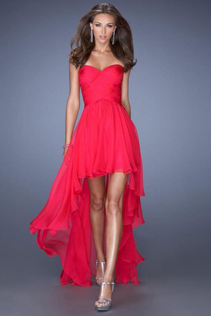 2014 High Low Sweetheart A Line Pleated Bodice Flowing Chiffon Skirt USD 109.99 EPPL27PJLF - ElleProm.com