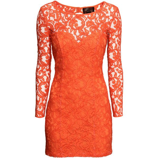 H&M Lace dress ($22) ❤ liked on Polyvore featuring dresses, h&m, orange, orange lace dress, lace dress, long-sleeve lace dress, red dress and short red dress