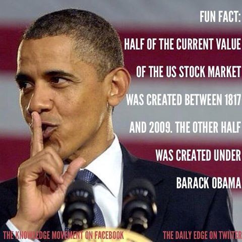 The Daily Edge @TheDailyEdge 21h DID YOU KNOW? Obama has created as much stock market wealth as all other Presidents since 1817--COMBINED pic.twitter.com/ARXQYFnuLb