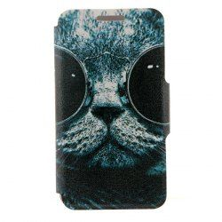 Kinston Sunglass Cat Pattern PU Leather Full Body Cover with Stand and Card Holder for iPhone 6 - 4.7 inch