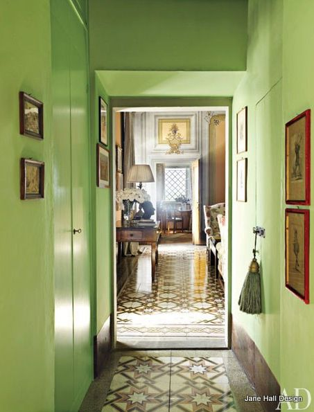 hallway with lacquered key lime green walls lime green wallspaint colorswall