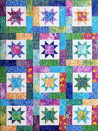 Lucky Stars Pieced Quilt Pattern by Atkinson Designs    Love the colors and the design.