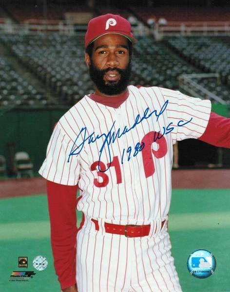 "Garry Maddox Philadelphia Phillies Autographed 8x10 Photo Inscribed """"1980 WSC"""" -Pose-"