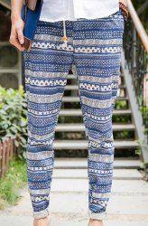 $16.40 Ethnic Style Drawstring Slimming Personality Print Splicing Crimping Design Narrow Feet Linen Pants For Men