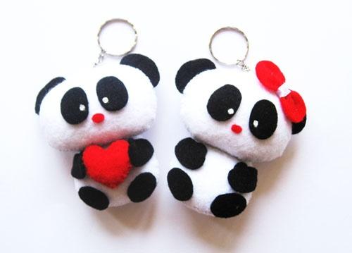 Sweet Couple Panda doll from felt