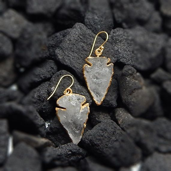 Crystal Gemstone Dangling Earrings  22k Yellow by darlingpiece