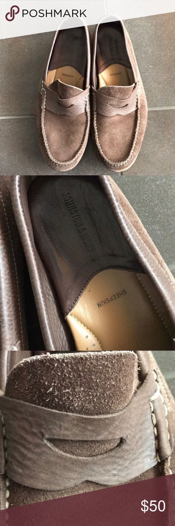 Johnston & Murphy Sheepskin Suede Leather Loafers Johnston and Murphy brown sheepskin suede leather loafers. Men's size 10. These have been worn but still look very nice! Shoes Loafers & Slip-Ons