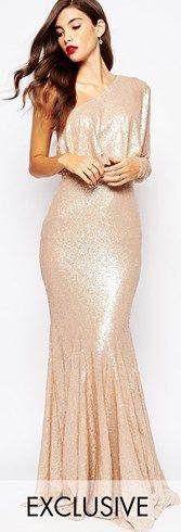 Vestido largo ajustado asmiétrico con lentejuelas Tempest de Forever Unique. #vestidos #moda