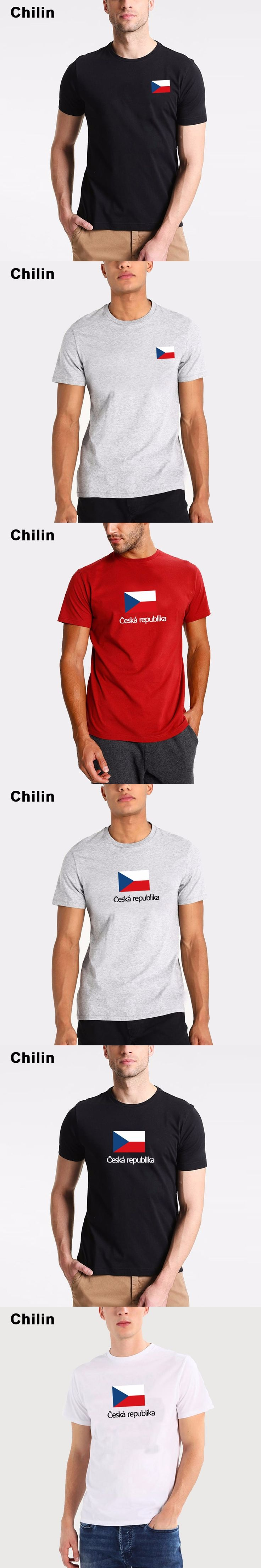 Chilin Czech Republic National Flag Mens T shirts Short Sleeve Summer Games Fans Cheer O Neck T- shirts For Men Size S- 3XL Tees