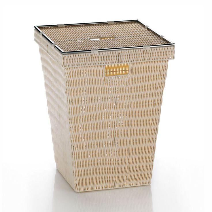 Koš na prádlo z kolekce Noblesse je vyrobený z odolné umělé hmoty. Estetický vzhled koše navozuje víko s elegantním nerezovým rámečkem a otvorem pro zvedání. Na koši jsou také otvory pro dostatečné odvětrávání.