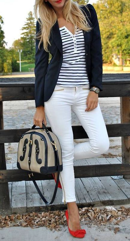 Nautical Stripes & Bow Heels ♥