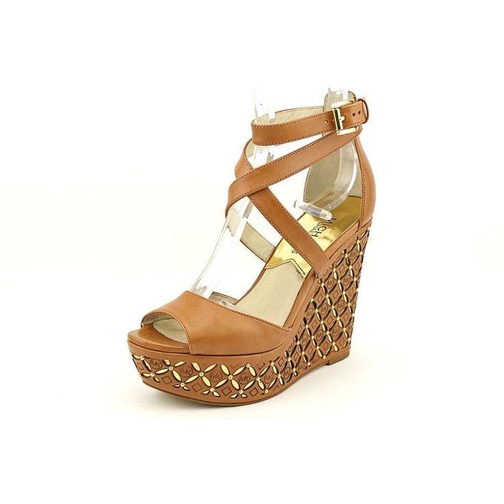 Michael Kors Gabriella Womens Tan Leather Wedges Heels Shoes #prom