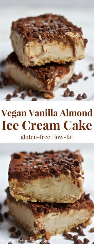 Vanilla Almond Ice Cream Cake | Healthy Helper @Healthy_Helper Creamy, dreamy, and delicious! This vegan Vanilla Almond Ice Cream Cake is everything you could want in a frozen treat for summer! Gluten- and grain-free, super easy to assemble, and made from whole food ingredients. You and your family will love slicing this beauty up and serving at your next meal for dessert!