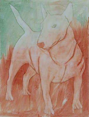Bull terrier, egg tempera on canvas. kunst, kanskje?: mars 2008