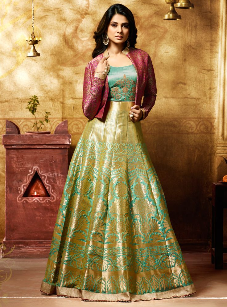 Buy Jennifer Winget Light Green Banarasi Jacket Style Floor Length Anarkali Suit 105129 online at lowest price from vast collection at m.indianclothstore.c.