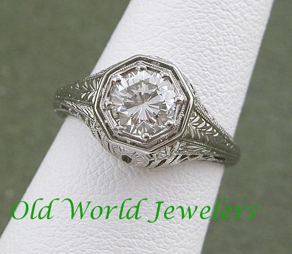 18K White Gold .91ct Diamond Filigree Ring c1930 $4,400 on GoAntiques.: Filigree Ring