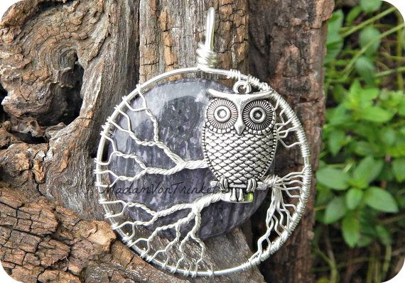 This owl pendant is lovingly handcrafted with a genuine jasper super moon and silver plated copper wire. By super moon, I mean that the moon is