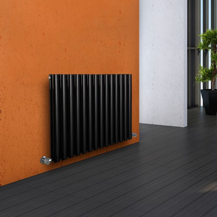"Revive - Luxury Black Horizontal Designer Double Radiator 25"" x 33"" - High Gloss Black Radiators - Designer Radiators"
