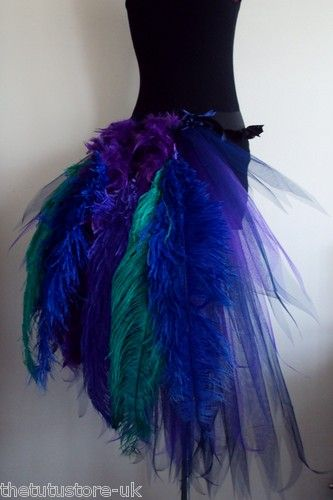 Purple Navy Blue Peacock Burlesque Busttle Feathers Size XS s M L Sexy Tutu | eBay