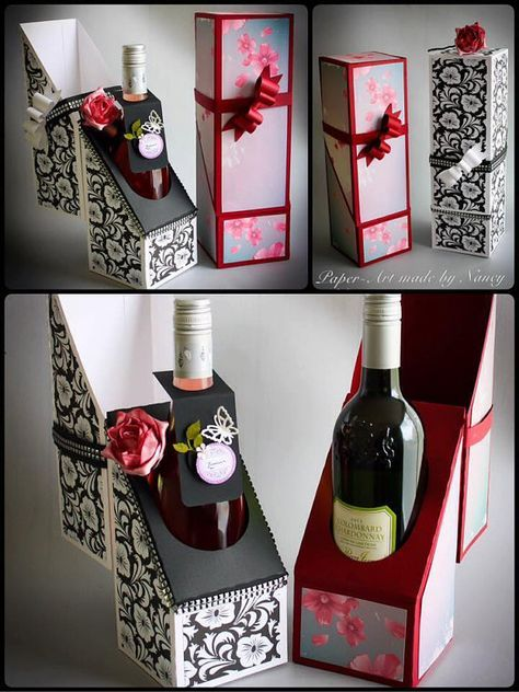Something different Wine bottle gift box 12 h x 4 w and 4 deep Assembly instructions http://mysvghut.blogspot.co.uk/2015/06/wine-bottle-gift-box-assembly.html The instant download formats available for this design are SVG for a variety of electronic cutting machines DS.svg for Cricut Design Space theres a Scan and Cut zip folder and a Studio compatible zipped folder for Silhouette PDF for Hand Cutting Have the freedom of choosing your own colour. Please remember t...