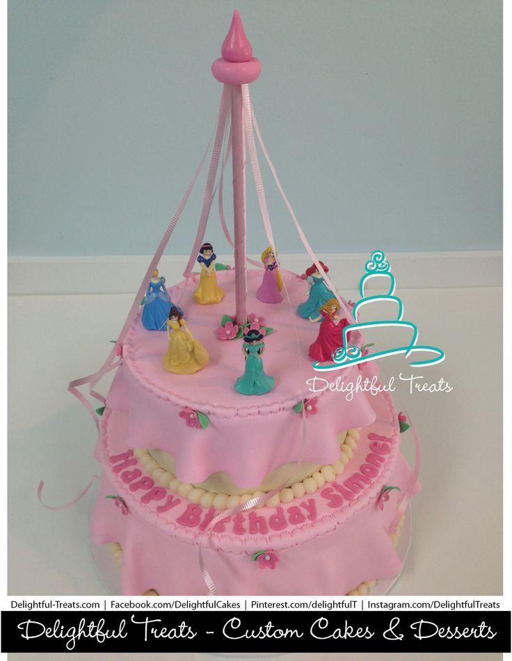 Two Tier Custom Disney Princesses Birthday Cake with Princess Aurora ...